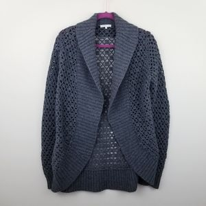 VINCE | Gray Open Knit Shawl Neck Cocoon Cardigan